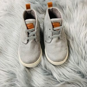 Gray suede hi top sneakers